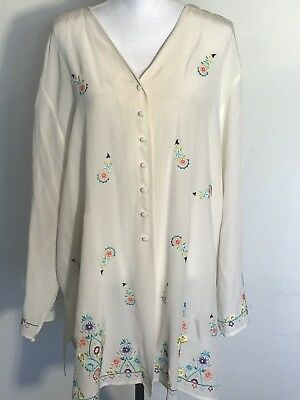 9446b5a19f8a22 80 s Diane Von Furstenberg Womens Embroidery Silk Tunic Buttons Up Top Xxl  Rare