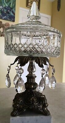 Vintage Clear Glass, Marble &Brass Pedestal Compote Candy Dish w/ Crystal Prisms