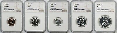 1954 5pc U.S. Proof Set Graded and Certified PF 67 by NGC