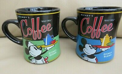 Set of 2 Disney Blend Really Swell Large Coffee Mugs Mickey & Minnie Mouse