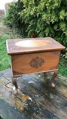 Beautiful Antique Vintage Hand Carved Small Wooden Box With Draw *