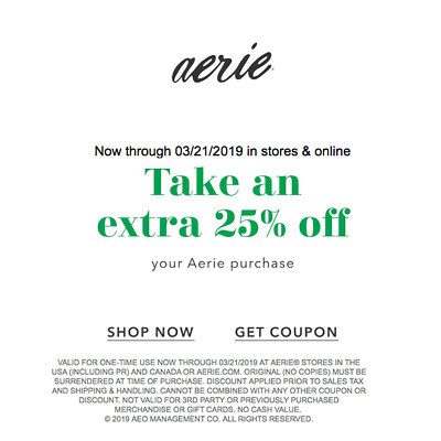 Madison : Aerie promo code 2019 free shipping