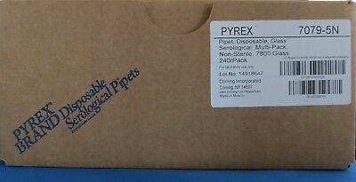 Qty 240 Pyrex Disposable 5mL Glass Serological Pipets Unplugged Corning 7079-5N