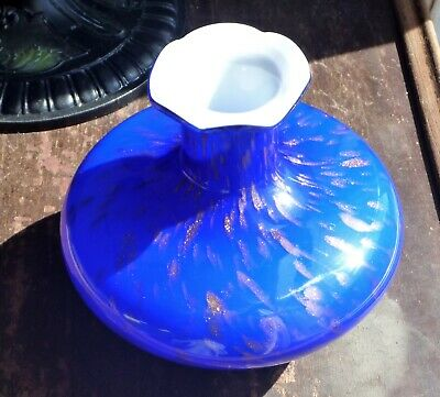 Vintage Murano Cased Glass Vase Cobalt Blue and Copper Aventurine Over White