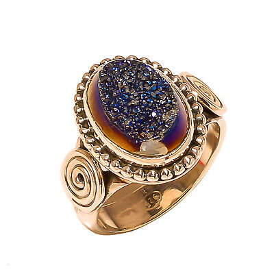 Titanium Druzy Vintage Style 925 Sterling Silver Ring 7.5(554)