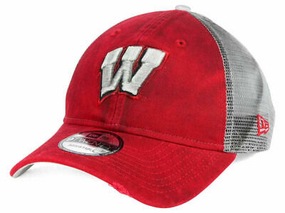 new arrival 70823 fb723 Nwt New Era Wisconsin Badgers Ncaa Team Red Rustic 9Twenty Trucker Mesh Hat