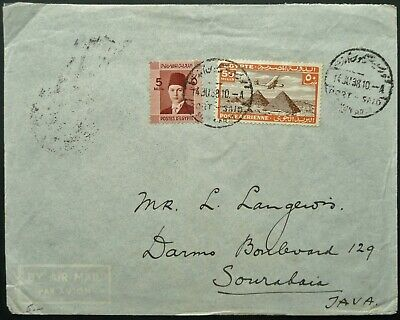 Egypt 1938 Airmail Postal Cover From Port Said To Java, Dutch East Indies - See!