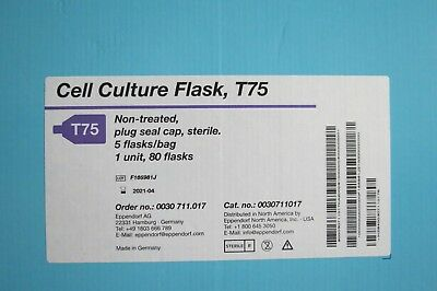 Case 80 Eppendorf Cell Culture 20mL Flasks T-75 00307011017 T75