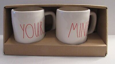 NEW Rae Dunn by Magenta SET of MINE & YOURS Red Mug Farmhouse Style Collection