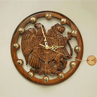 Antique Wooden Armenian Handmade Wall Clock Time OHANYAN Bronze Watch Exclusive