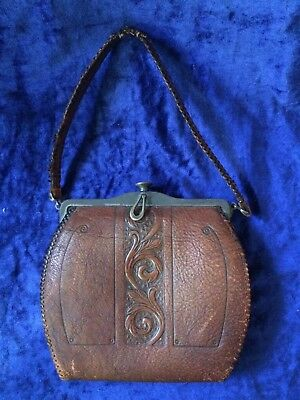 Antique MEEKER Leather Purse Satchel Art Nouveau AMAZING
