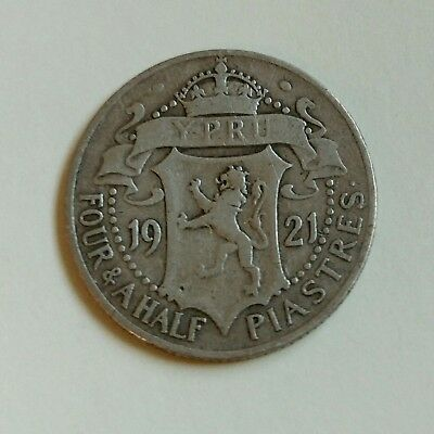 Cyprus Silver Coin , 4 ½ Piastres 1921 (.925) , George V