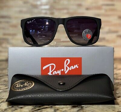Ray Ban Justin Polarized Sunglasses Rb4165 622 T3 54mm Matte Black Grey Gradient