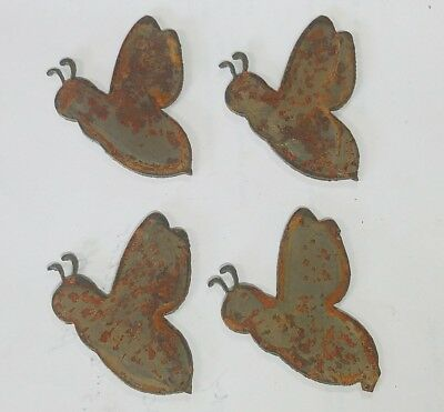 """Lot of 4 Bee Shapes Insect Bug 2"""" Rusty Metal Vintage Craft Sign Ornament"""
