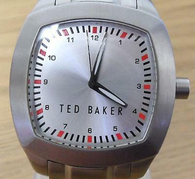 Mens Silver Ted Baker TB017 Vintage Retro Square Analog Quartz Bracelet Watch