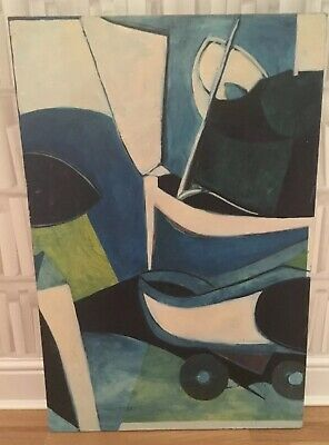 Beautiful Large Mid Century Modernist Oil Painting On Canvas Abstract Geometric