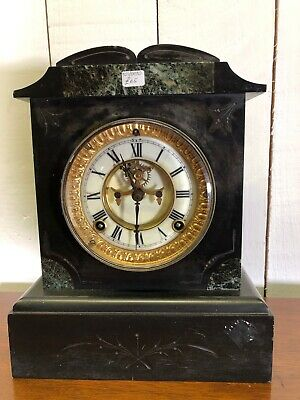 Black Stone Clock. Traditional Vintage Mantle Clock