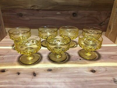 Indiana Colony Glass set of 7 yellow Kings Crown Footed dessert cups pre-owned
