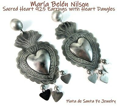 Maria Belen Hand Tooled 925 XL FLAMING SACRED HEART Dangle Earrings~2 Finishes!