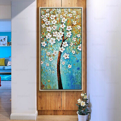 YA181 Home decor Hand-painted Thick knife oil painting on canvas Peacock tree