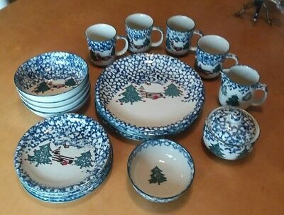 Folk Craft Cabin In The Snow by Tienshan  Dinnerware 4 Place Setting