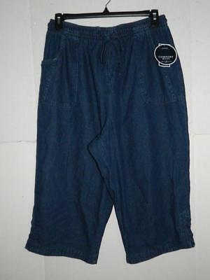 Karen Scott Womens Plus Denim Comfort Waist Capri Pants NWT Size 1X X 19 A7
