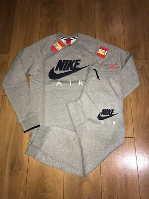 Mens Grey Nike Air Full Tracksuit crew fleece Aw77 top and bottoms All sizes