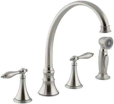 KOHLER K-377-4M-BN FINIAL Traditional 4-Hole Kitchen Faucet with Side Spray