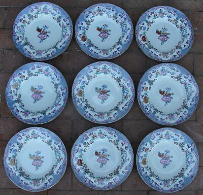 9 Antique Minton & Boyle BB New Stone Ironstone A1106 Soup Bowls C. 1841 AWESOME