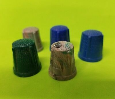 Vintage plastic THIMBLES lot of (5) charms cracker jack gumball vending prize
