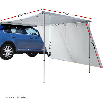 Weisshorn Car Shade Awning Aluminium Frame 2x3M with Extension 3x2M Grey