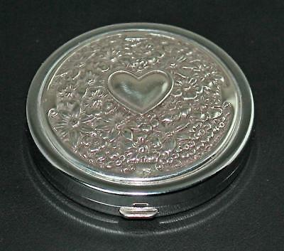 Brighton Compact Mirror Reg & Magnified Hinged Heart & Flowers Silvertone