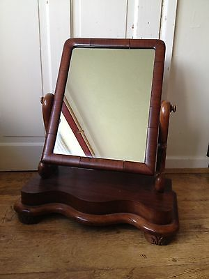 Vintage Victorian Mahogany Toilet mirror Serpentine Base Carved Front