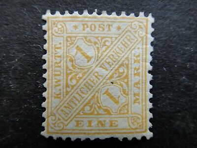 Germany 1881 - 1902 Official Stamp MINT 1m yellow GERMAN STATES WURTTEMBERG £70