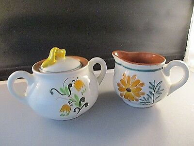Stangl Pottery Country Garden Creamer & Sugar Bowl Carved Hand Painted
