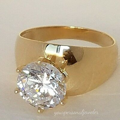 Solid 14k Yellow Gold Solitaire round man made Diamond Engagement Ring 3 ct S7
