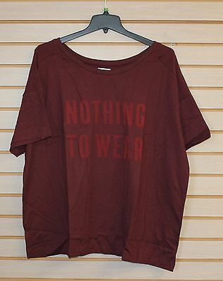 New Womens Old Navy Plus Size 3X Red Wine Nothing To Wear Crewneck Tee Shirt Top