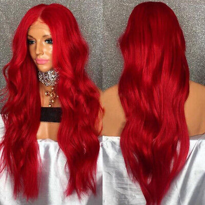 The Long Curve Natural Matt Hairpiece Lace Front Big Curly Wigs Wine Red AU