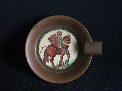 Antique Vintage Copper Ashtray Hand Painted Knight on Horse Marion Tegel Holland