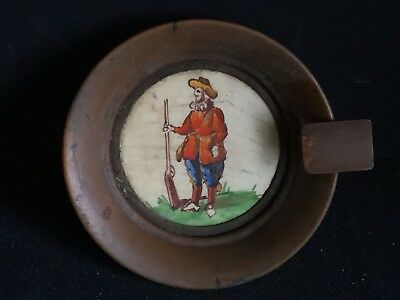 Antique Vintage Copper Ashtray Hand Painted Musketeer Marion Tegel Holland