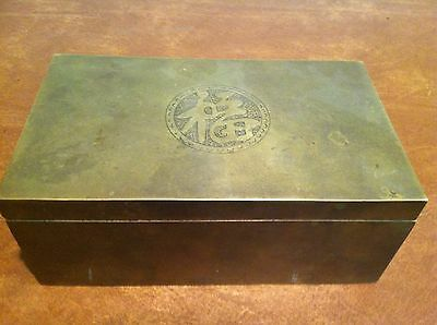 Antique Vintage Chinese Brass Trinket Box with Painted Wooden Insert