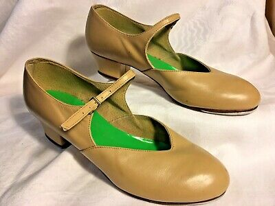 Bloch Nude Leather Character Tap Dance Shoes  Sz 5 1/2