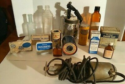 Vintage Lot Of 16  First Aid Poison  Powders  Tins  Bottles   Medical  devices