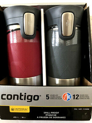 Contigo Autoseal Spill-Proof Travel Mug 16 oz Stainless Steel set of 2