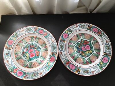 Pair of Large Antique Chinese Porcelain Famille Medallion Rose Plates