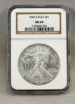 2003 Silver American Eagle $1 Coin Graded By NGC MS69!  Nice Coin!