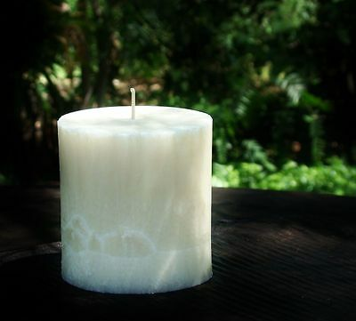 80hr WHITE SANDALWOOD Sacred & Earthy Strong Scent Oval ECO CANDLE Free Postage