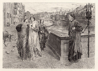 """Mesmerizing 1800s Henry Holiday Antique Etching """"Dante and Beatrice"""" Framed COA"""