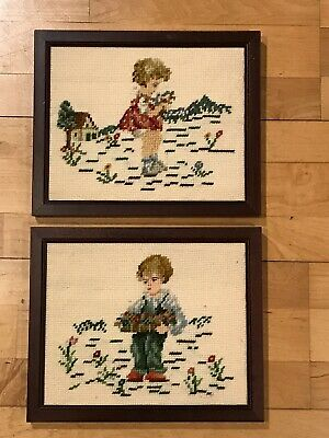 Vintage Needlepoint Pictures Boy Girl Pair 9 X 11 Handmade