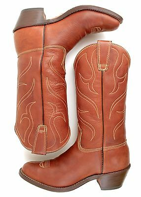 93d5c3d255772 COWBOY BOOT HANDMADE Stewart Co USA Brown Whiskey Leather VTG Men 7.5 Women  9